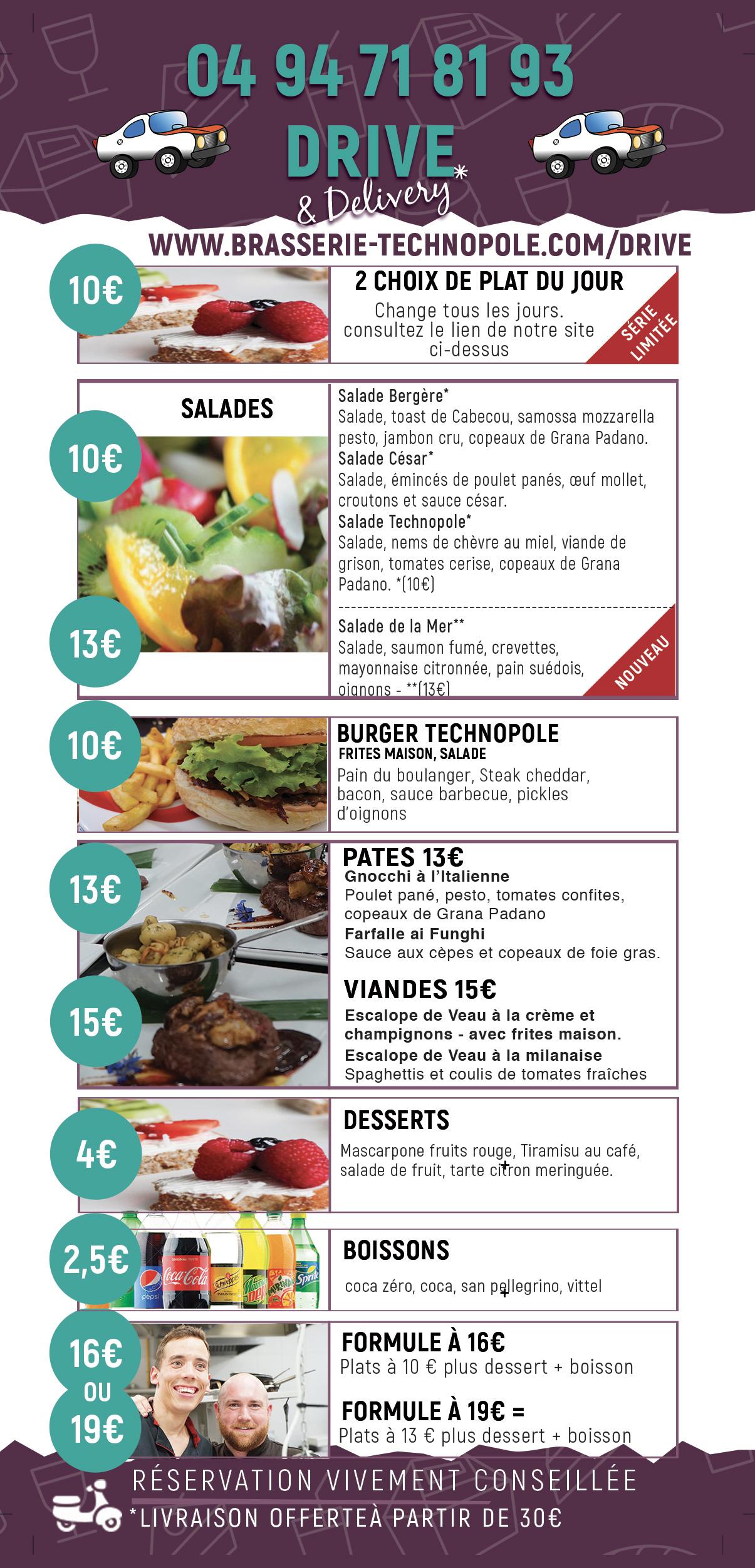Plats et menus à emporter, Brasserie Technopole